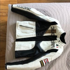 Ducati leather jacket with arm shields